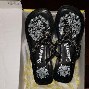 Skechers Cali Wedge Sandal~Blk~Sz 7